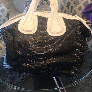 Black and white python leather bag